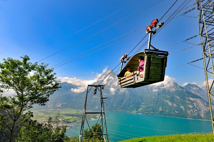 Cable car ride with view to Lake Uri